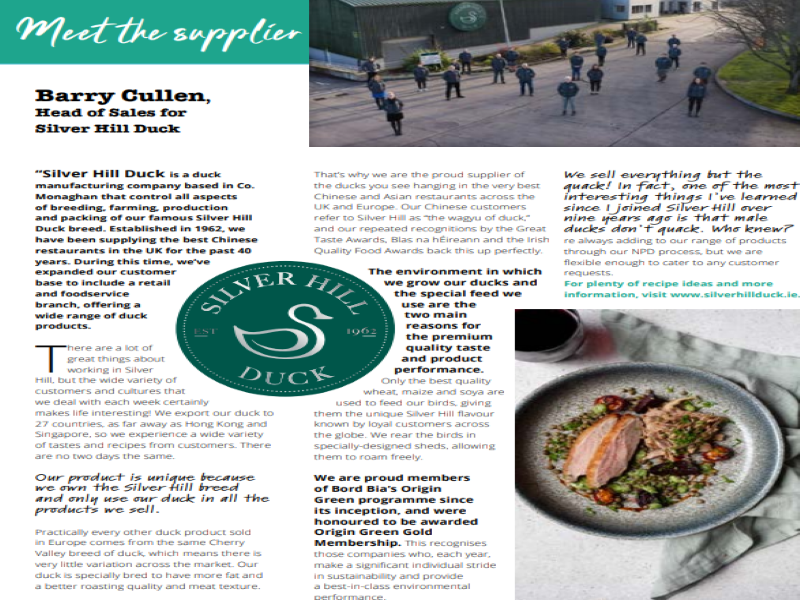 ARTICLE BY ONE OF OUR FOODSERVICE PROVIDERS